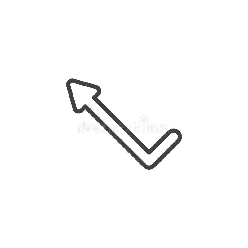 Linha esquerda ícone da seta do ângulo ilustração do vetor