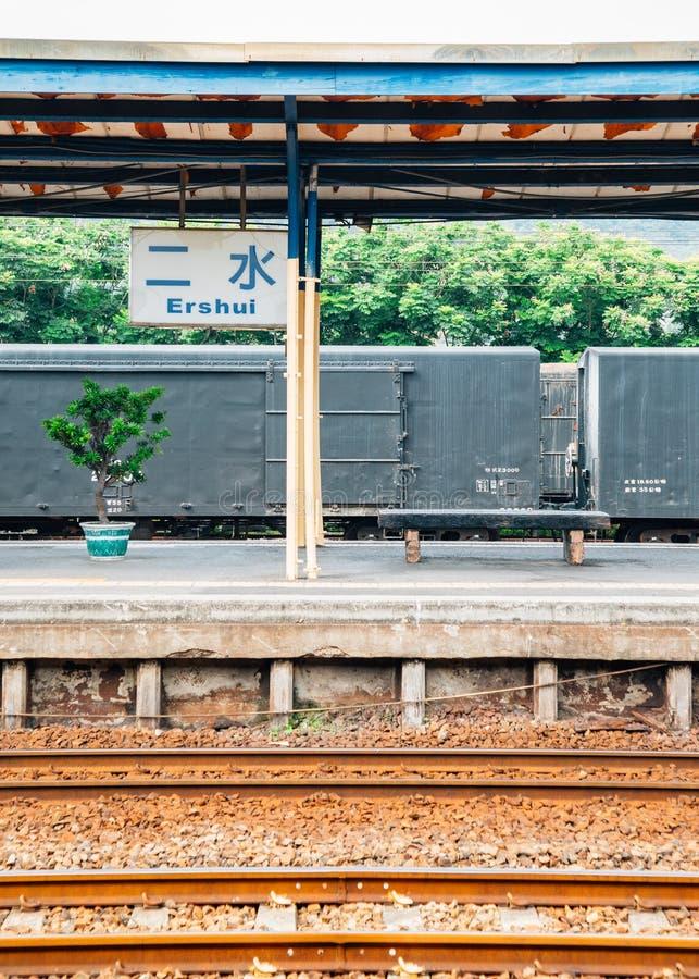 Linha estação de trem de Jiji de Ershui em Nantou, Taiwan imagens de stock royalty free
