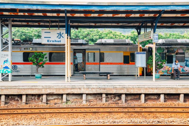 Linha estação de trem de Jiji de Ershui em Nantou, Taiwan fotos de stock