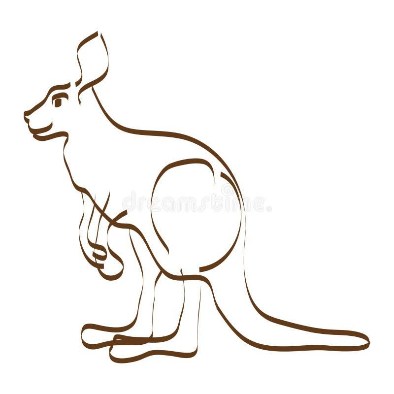 Linha estilizado imagem do vetor do canguru estando ilustração do vetor