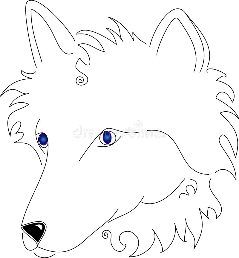 Linha estilizado lobo branco de arte ilustração do vetor