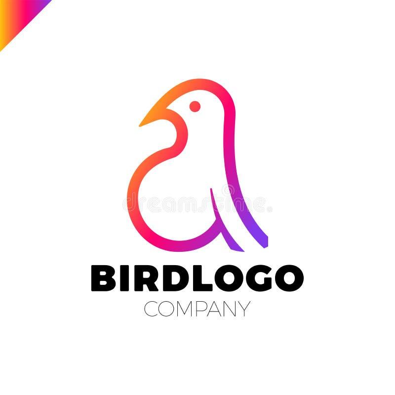 Linha estilo colorido do molde do projeto do logotype do pássaro da arte ilustração stock