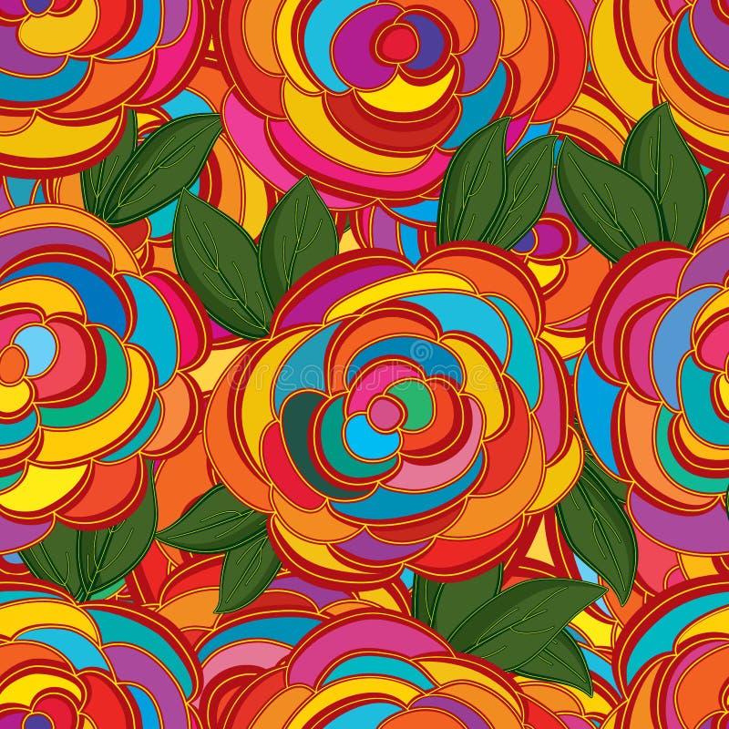 Linha estilo da flor que tira o teste padrão sem emenda ilustração royalty free