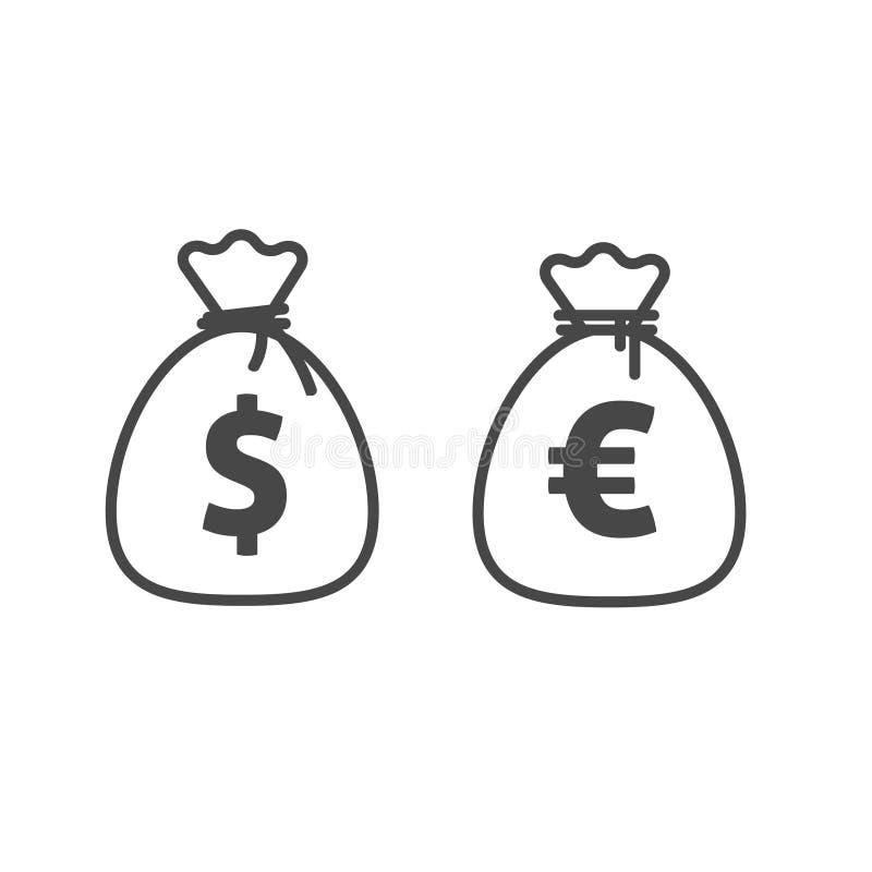 Linha estilo do esboço, dólar e euro- moneybag do ícone do vetor do saco do dinheiro da moeda ilustração royalty free