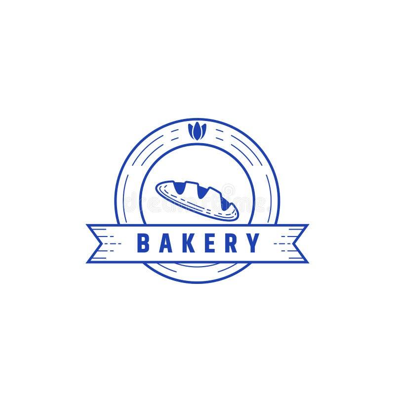Linha estilo do gravador do símbolo do ícone do logotipo do emblema do crachá da padaria do círculo da textura ilustração do vetor