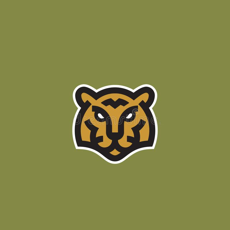 Linha estilo minimalista Tiger Face Abstract Vetora Icon, s?mbolo ou Logo Template Cabe?a animal selvagem Sillhouette creativo ilustração royalty free