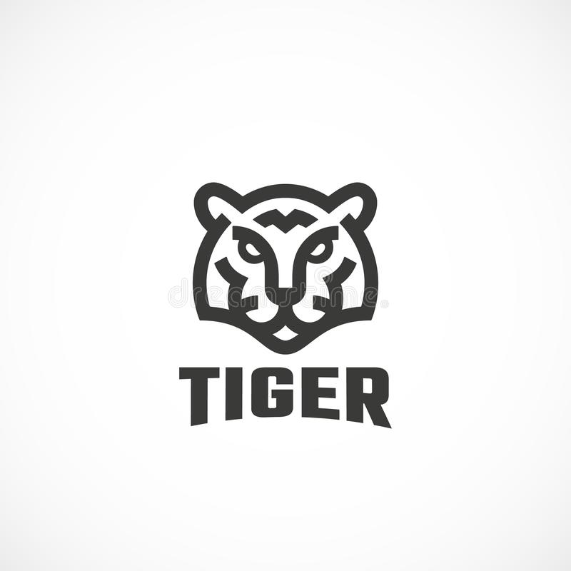 Linha estilo simples Tiger Face Abstract Vetora Icon, símbolo ou Logo Template Cabeça animal selvagem Sillhouette com moderno ilustração do vetor
