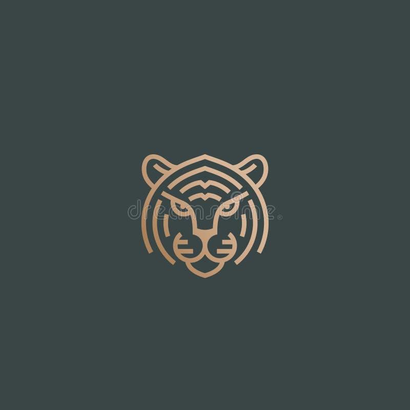 Linha estilo Tiger Face Abstract Vetora Icon, s?mbolo ou Logo Template Cabe?a animal selvagem Sillhouette com tipografia ilustração stock
