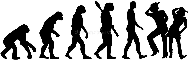 Linha evolução da dança ilustração stock