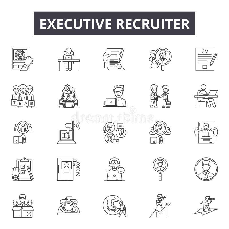 Linha executiva ícones do recruta para a Web e o projeto móvel Sinais editáveis do curso Conceito executivo do esboço do recruta ilustração stock