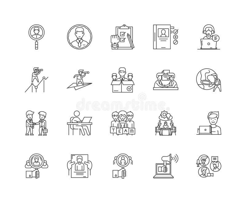 Linha executiva ícones do recruta, sinais, grupo do vetor, conceito da ilustração do esboço ilustração stock