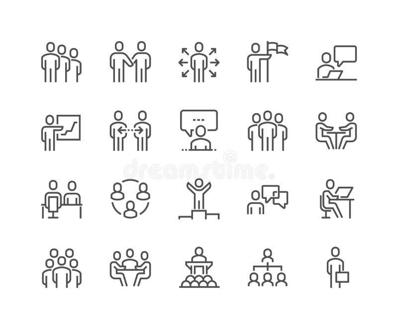 Linha executivos dos ícones ilustração do vetor