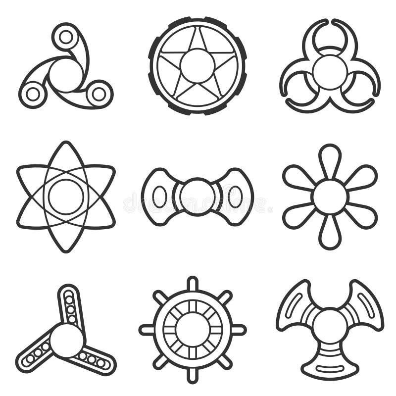 Linha extra grupo do vetor do girador da inquietação da mão do ícone ilustração do vetor