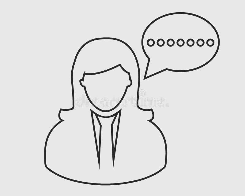 Linha fêmea ícone da bolha da conversão ilustração stock