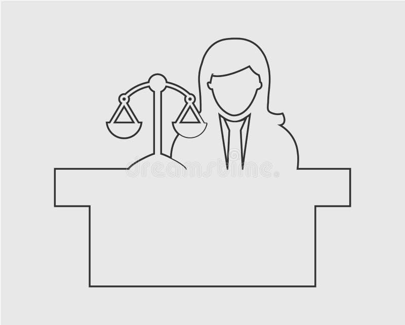 Linha fêmea ícone do juiz ilustração stock