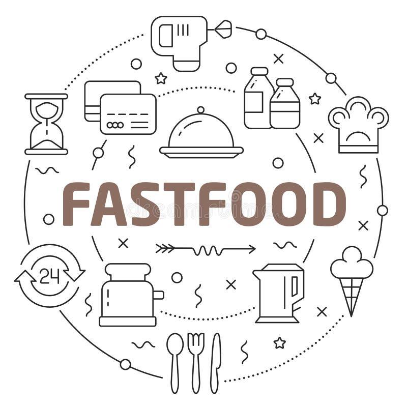 Linha fastfood liso da ilustração do círculo ilustração stock