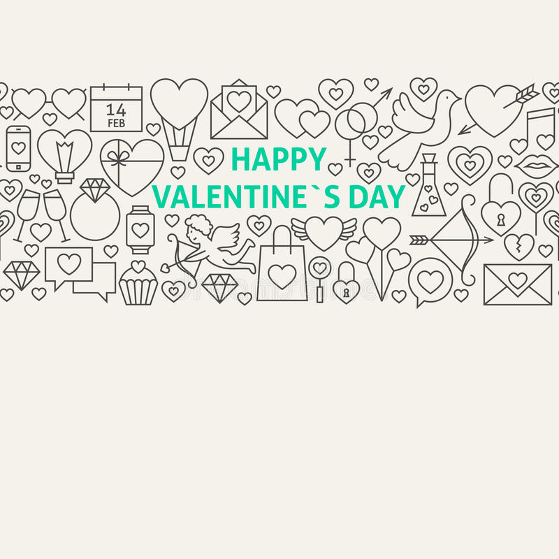 Linha feliz Art Icons Seamless Web Banner do dia de Valentim ilustração royalty free