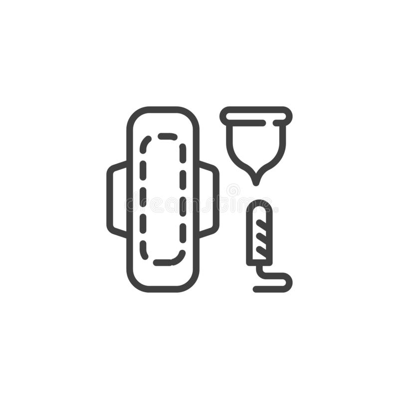 Linha feminino ícone da higiene ilustração stock