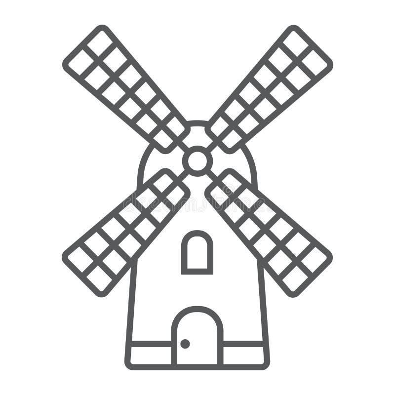 Linha fina ícone, cultivo e agricultura do moinho de vento ilustração do vetor