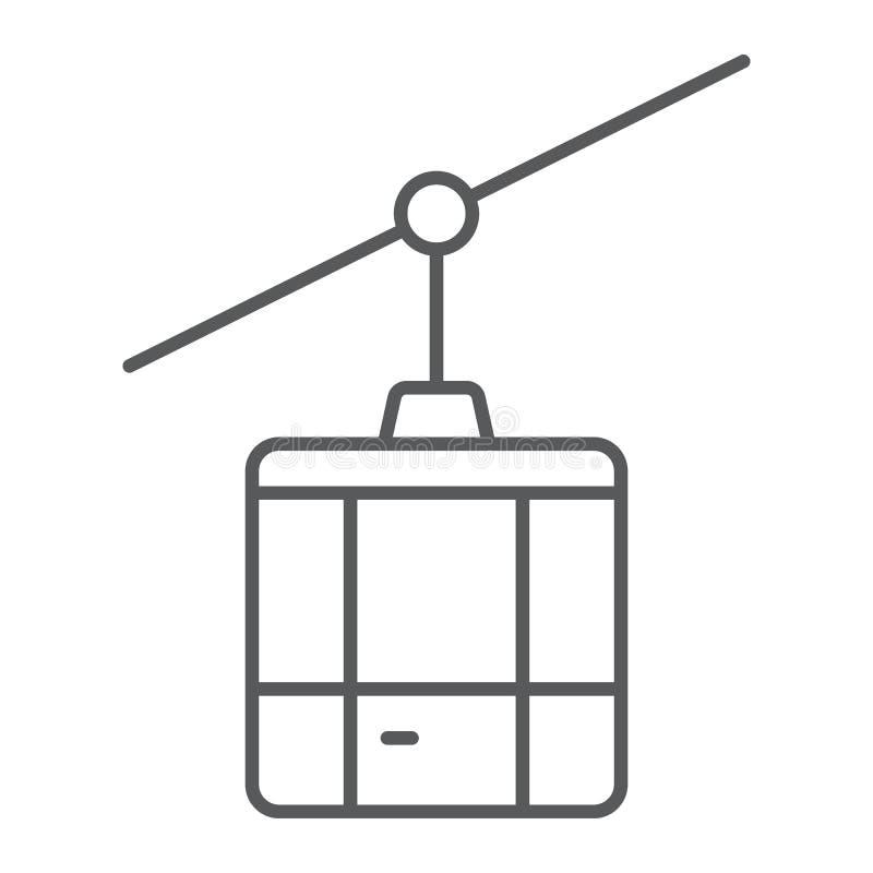 Linha fina ícone, curso e turismo do teleférico ilustração stock