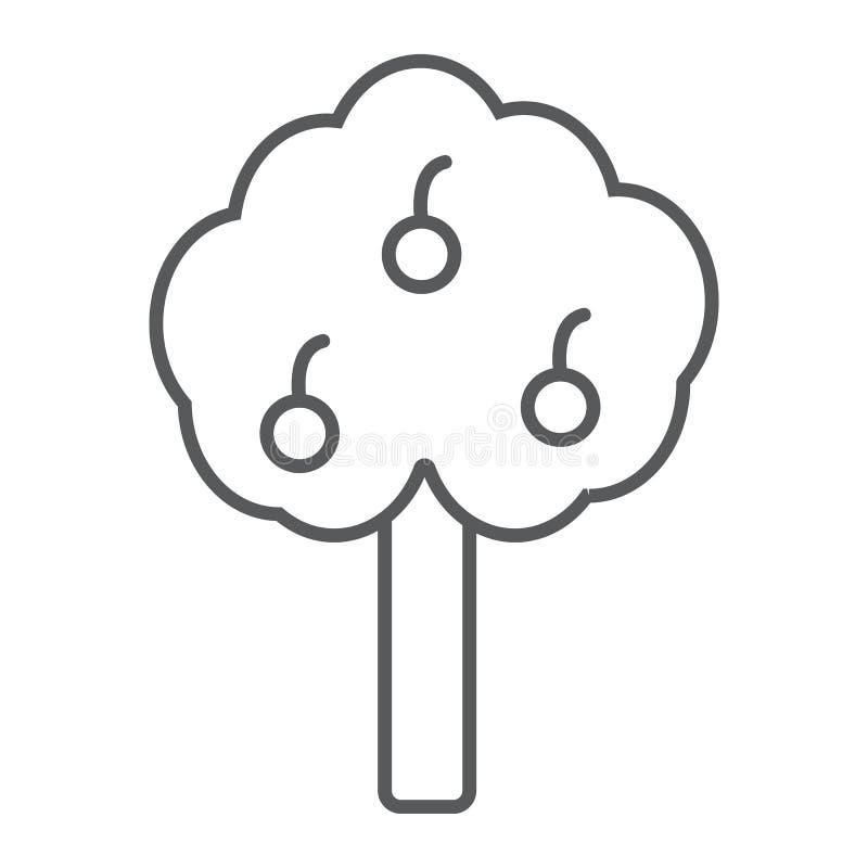 Linha fina ícone da árvore de Apple, exploração agrícola e jardim, sinal da árvore de fruto, gráficos de vetor, um teste padrão l ilustração royalty free