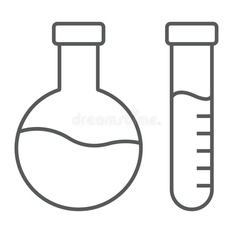 Linha fina ícone da análise química, laboratório e garrafa, sinal do teste do tubo, gráficos de vetor, um teste padrão linear em  ilustração royalty free
