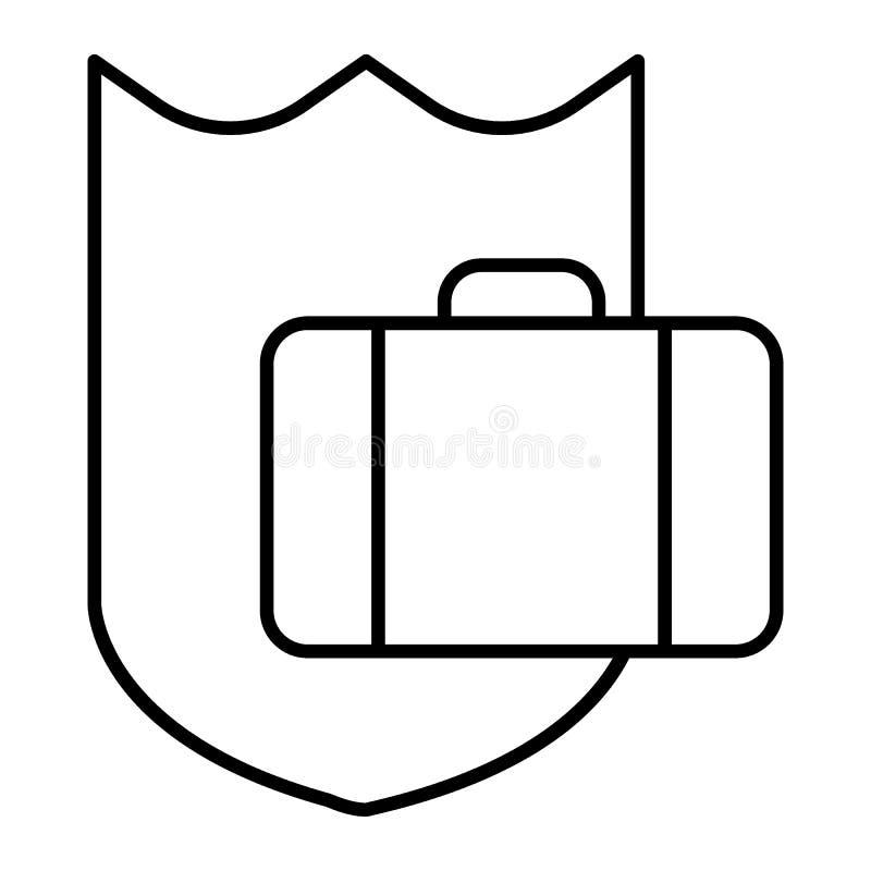 Linha fina ícone da bagagem da proteção Ilustração do vetor da mala de viagem e do protetor isolada no branco Estilo seguro do es ilustração stock
