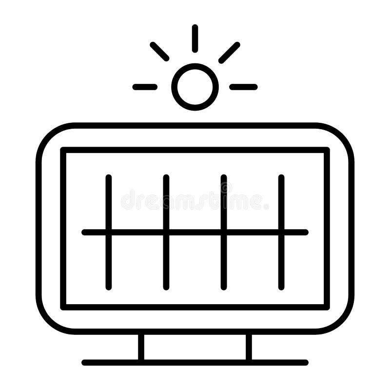 Linha fina ícone da bateria solar Ilustração do vetor do painel solar isolada no branco Projeto do estilo do esboço da energia de ilustração stock