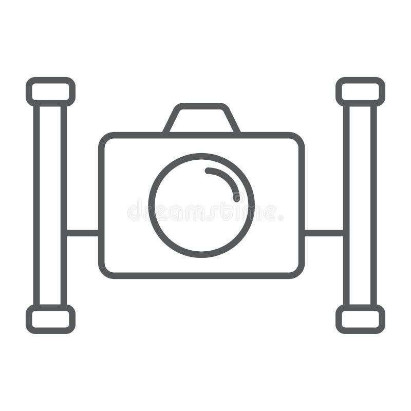 Linha fina ícone da câmera subaquática, mergulhando ilustração stock