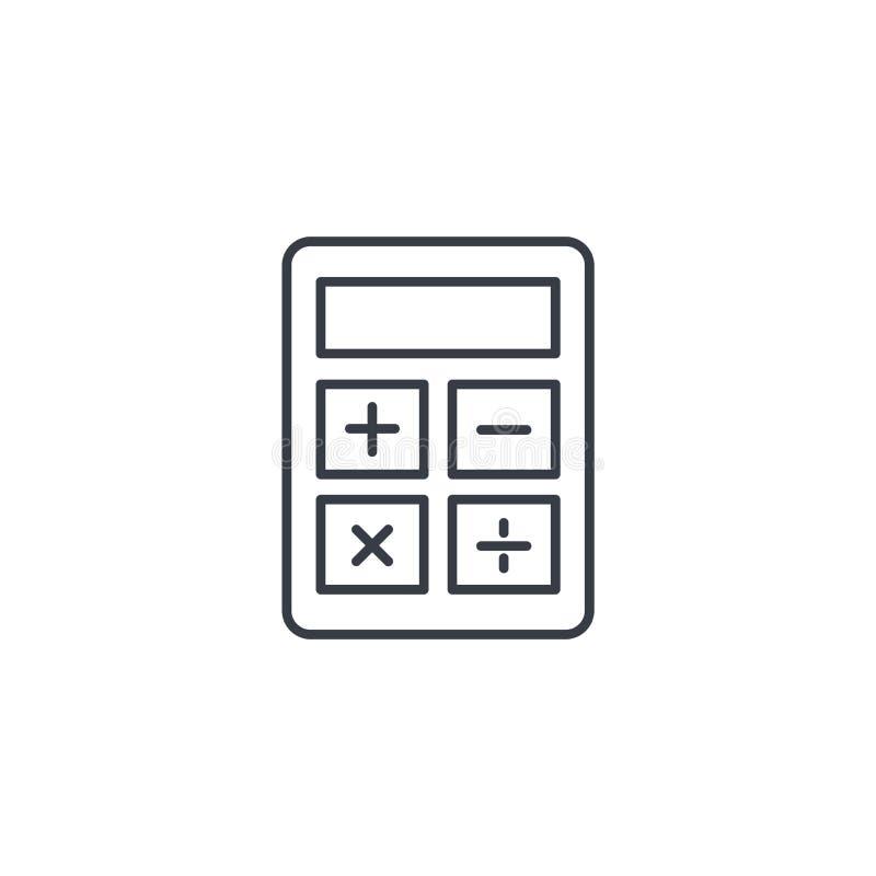 Linha fina ícone da calculadora Símbolo linear do vetor ilustração royalty free