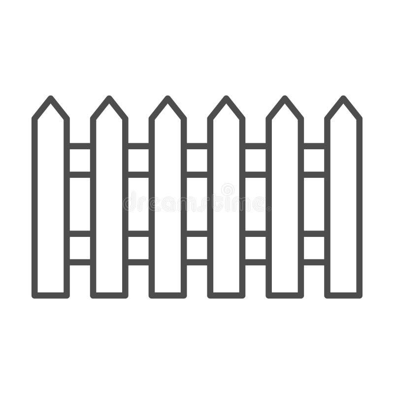 Linha fina ícone da cerca Jardim que cerca a ilustração do vetor isolada no branco Projeto do estilo do esboço da barreira, proje ilustração stock