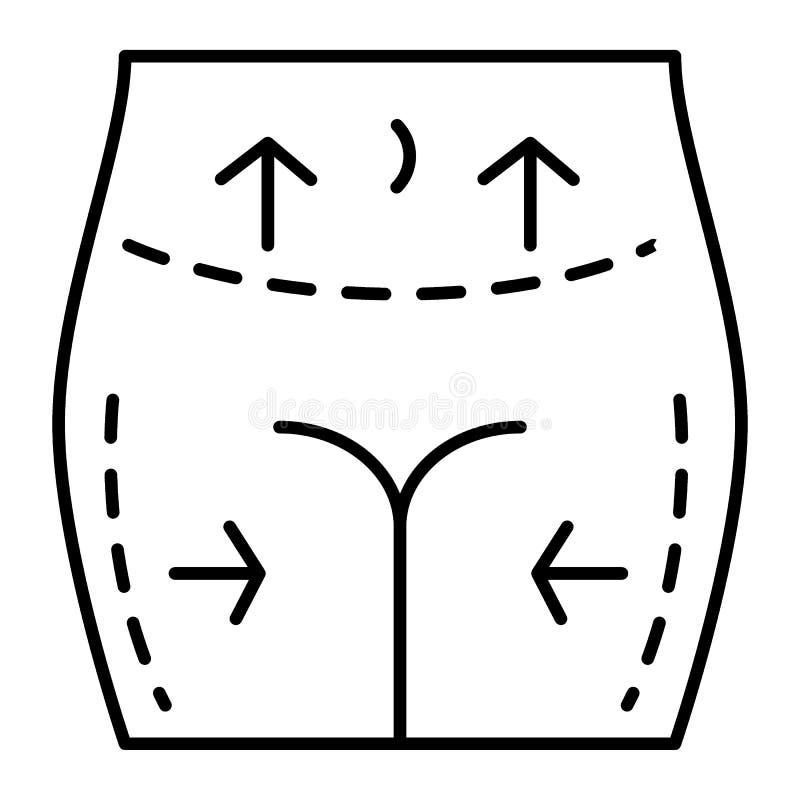 Linha fina ícone da cirurgia plástica Os quadris fêmeas e a correção da barriga vector a ilustração isolada no branco liposuction ilustração stock