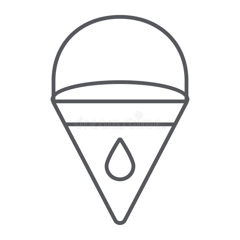 Linha fina ícone da cubeta de fogo, bombeiro e equipamento, sinal do balde do triângulo, gráficos de vetor, um teste padrão linea ilustração royalty free