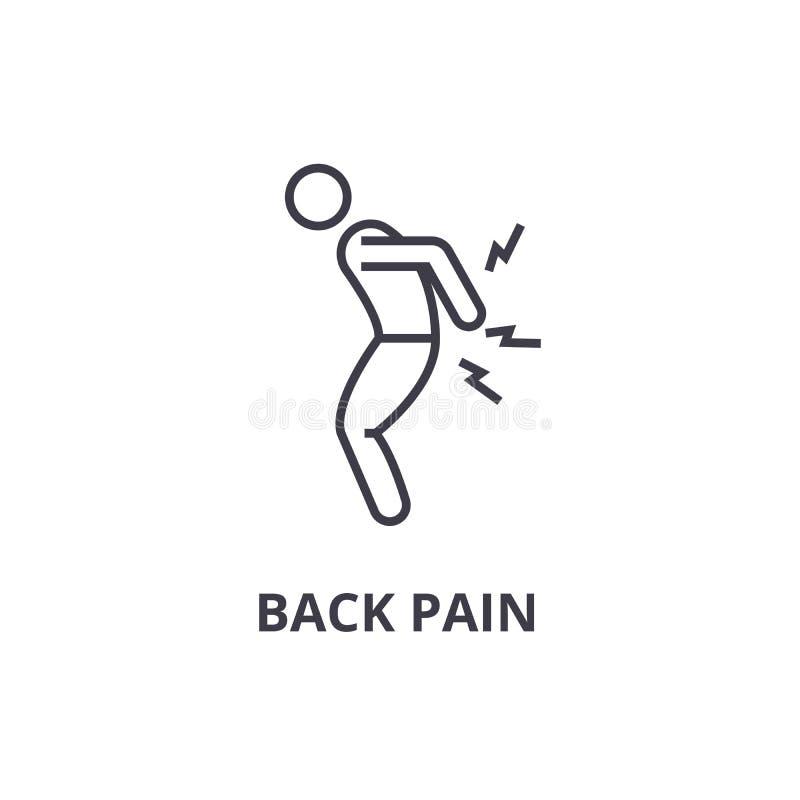 Linha fina ícone da dor nas costas, sinal, símbolo, illustation, conceito linear, vetor ilustração royalty free