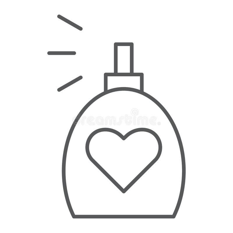 Linha fina ícone da fragrância, aroma e amor, sinal do perfume, gráficos de vetor, um teste padrão linear em um fundo branco ilustração royalty free
