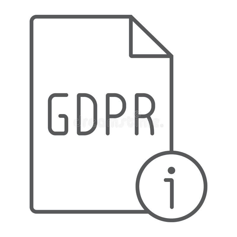 Linha fina ícone da informação de Gdpr, pessoal e privacidade, sinal da informação, gráficos de vetor, um teste padrão lin ilustração stock