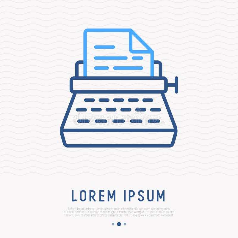 Linha fina ícone da máquina de escrever ilustração stock
