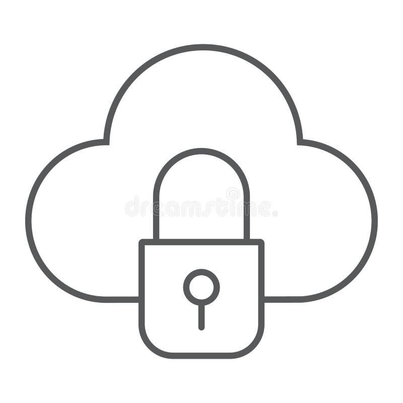 A linha fina ícone da nuvem e do fechamento, dados e para proteger, nubla-se o sinal da segurança, gráficos de vetor, um teste ilustração royalty free
