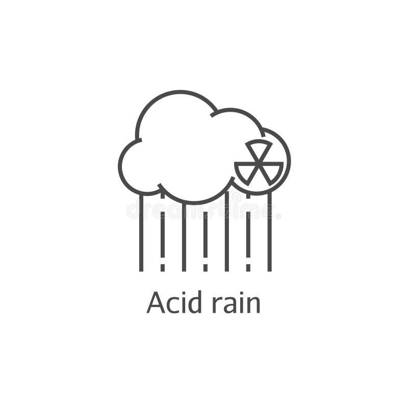 Linha fina ícone da nuvem radioativa e da chuva ácida Conceito venenoso anti-ecológico perigoso dos sedimentos ilustração do vetor