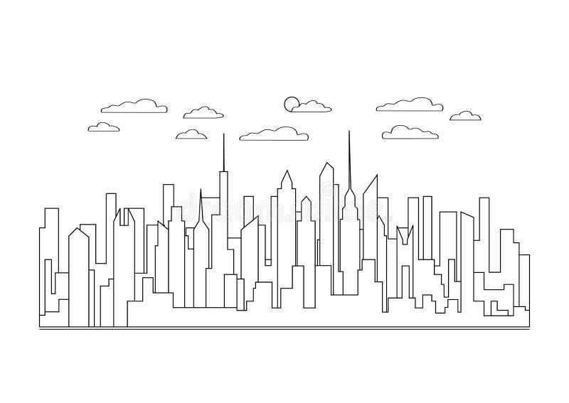 Linha fina ícone da paisagem da cidade Cidade moderna urbana do projeto do panorama com arranha-céus altos, construções, céu, lin ilustração do vetor