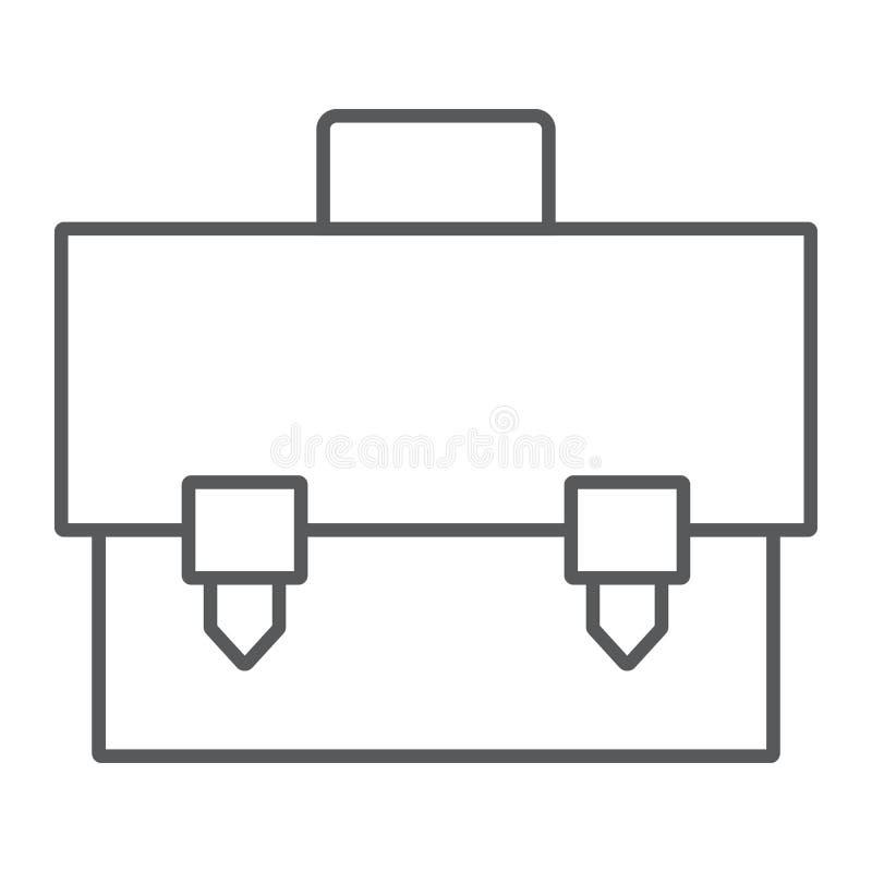 Linha fina ícone da pasta, saco e mala de viagem, sinal do caso, gráficos de vetor, um teste padrão linear em um fundo branco ilustração stock