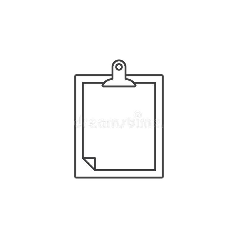 Linha fina ícone da prancheta, ilustração do logotipo do vetor do esboço, linha ilustração stock