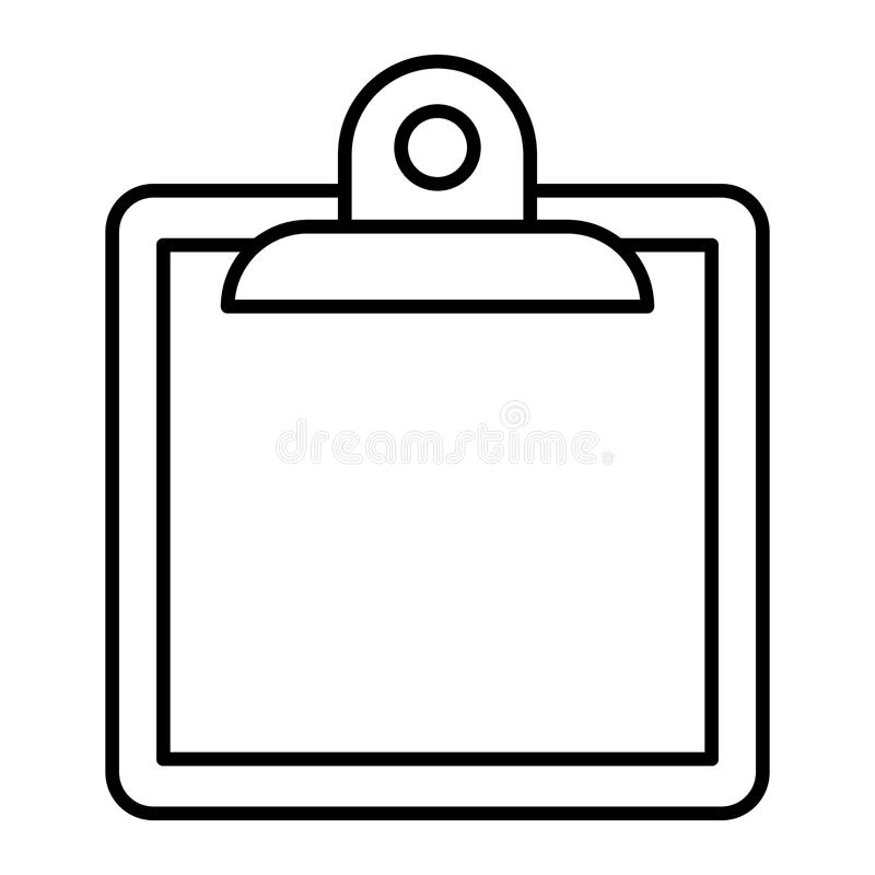 Linha fina ícone da prancheta Note a ilustração do vetor isolada no branco Projeto do estilo do esboço da placa, projetado para a ilustração royalty free