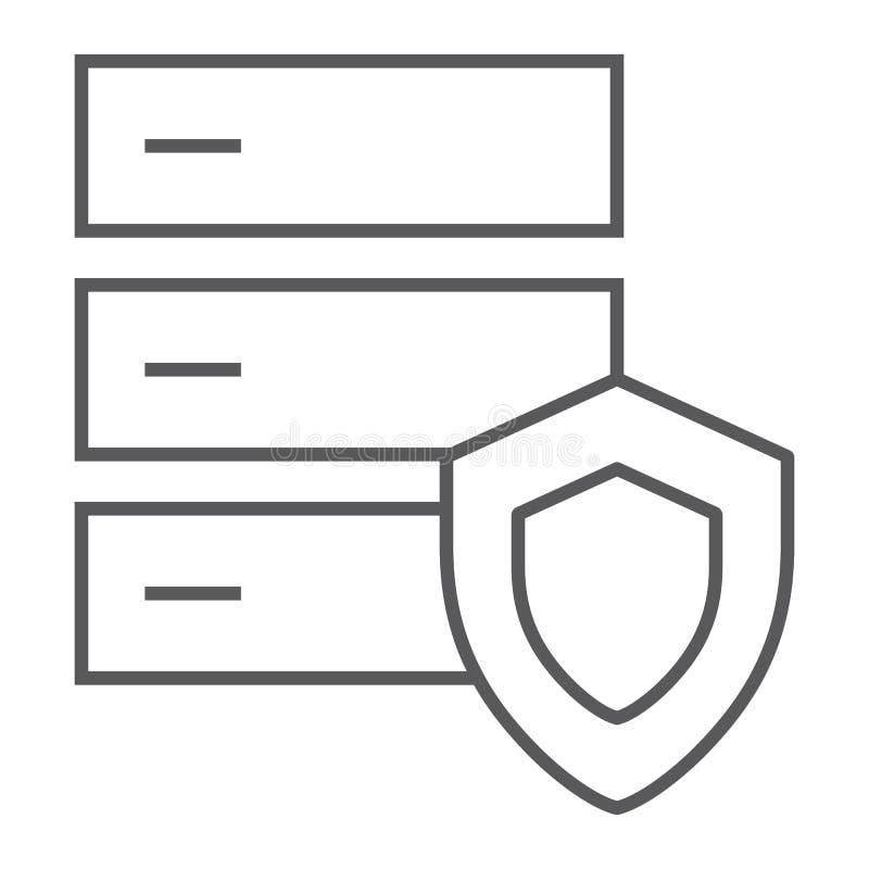 Linha fina ícone da proteção do base de dados, servidor e segurança, sinal do sistema, gráficos de vetor, um teste padrão linear ilustração stock