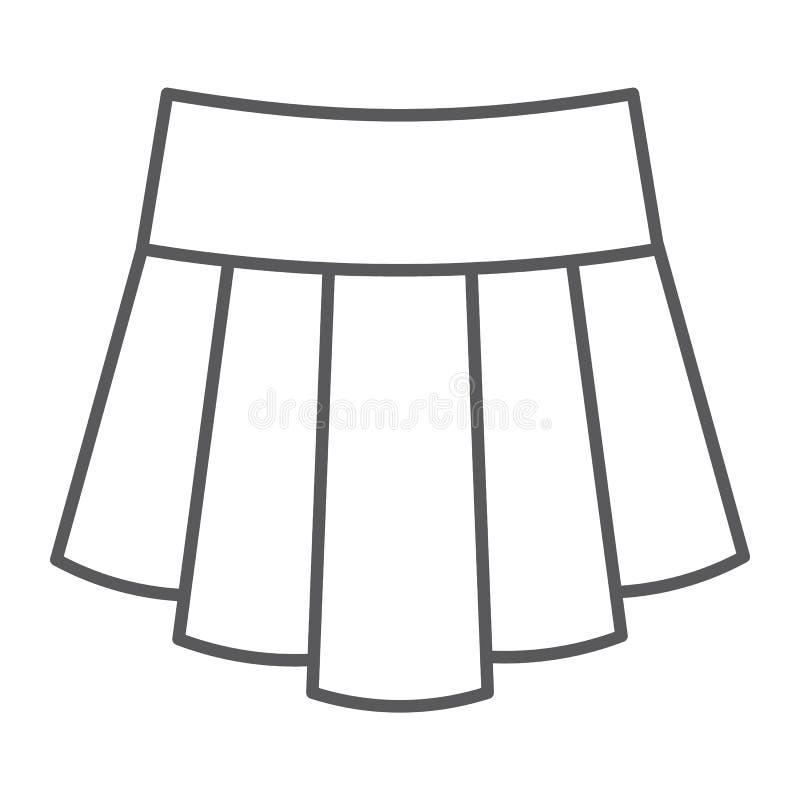 A linha fina ícone da saia, a roupa e a fêmea, roupa da menina assinam, os gráficos de vetor, um teste padrão linear em um fundo  ilustração do vetor