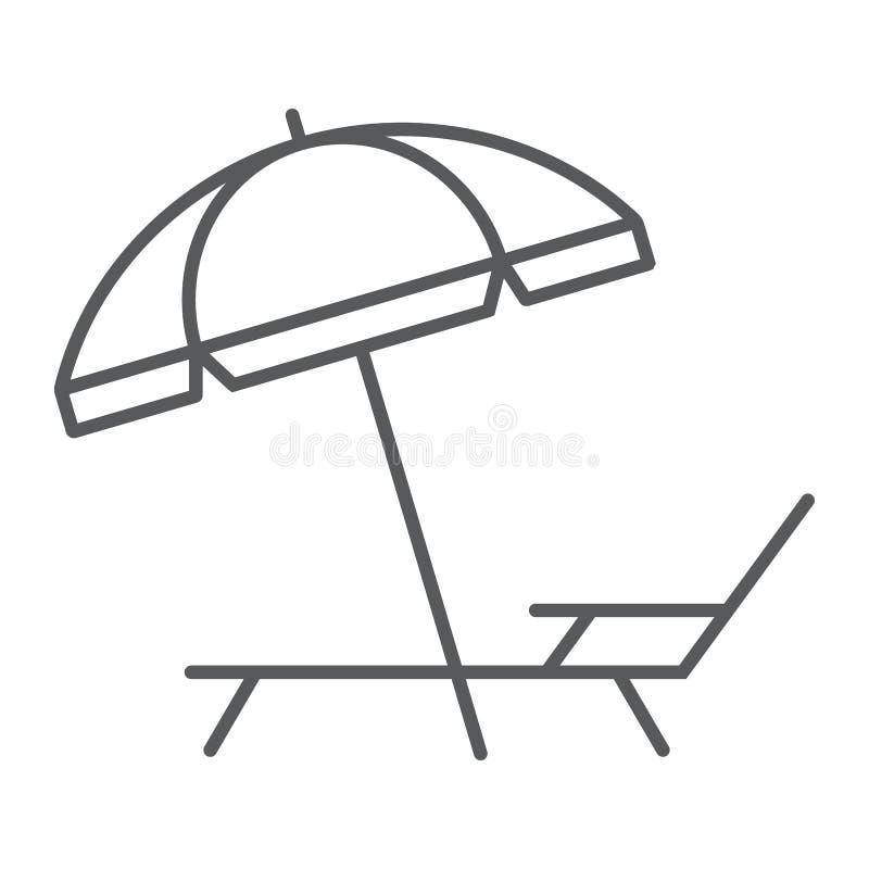 Linha fina ícone da sala de estar do guarda-chuva e de sol, curso ilustração royalty free
