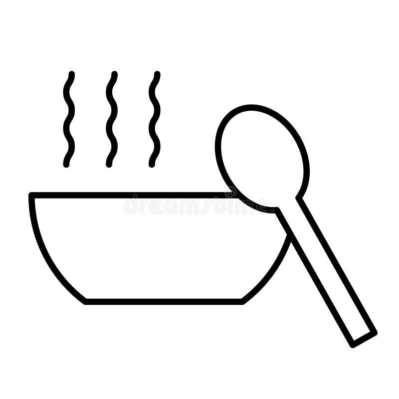 Linha fina ícone da sopa Bacia de ilustração do vetor da sopa e da colher isolada no branco Projeto quente do estilo do esboço do ilustração royalty free