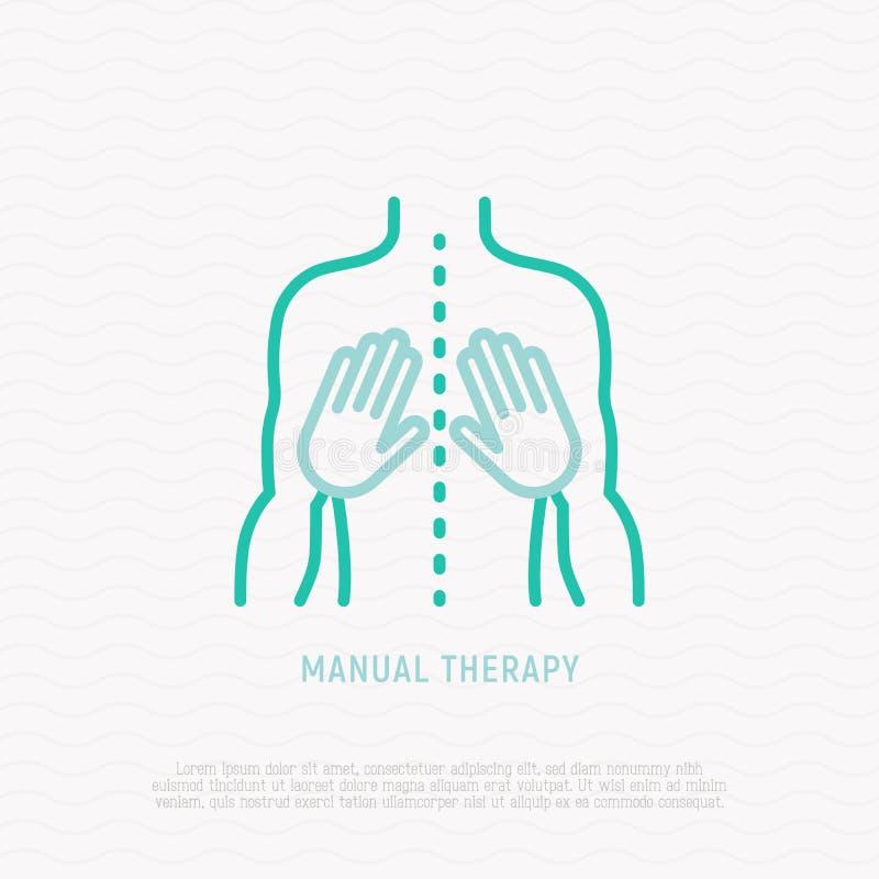 Linha fina ícone da terapia manual Ilustração do vetor ilustração royalty free