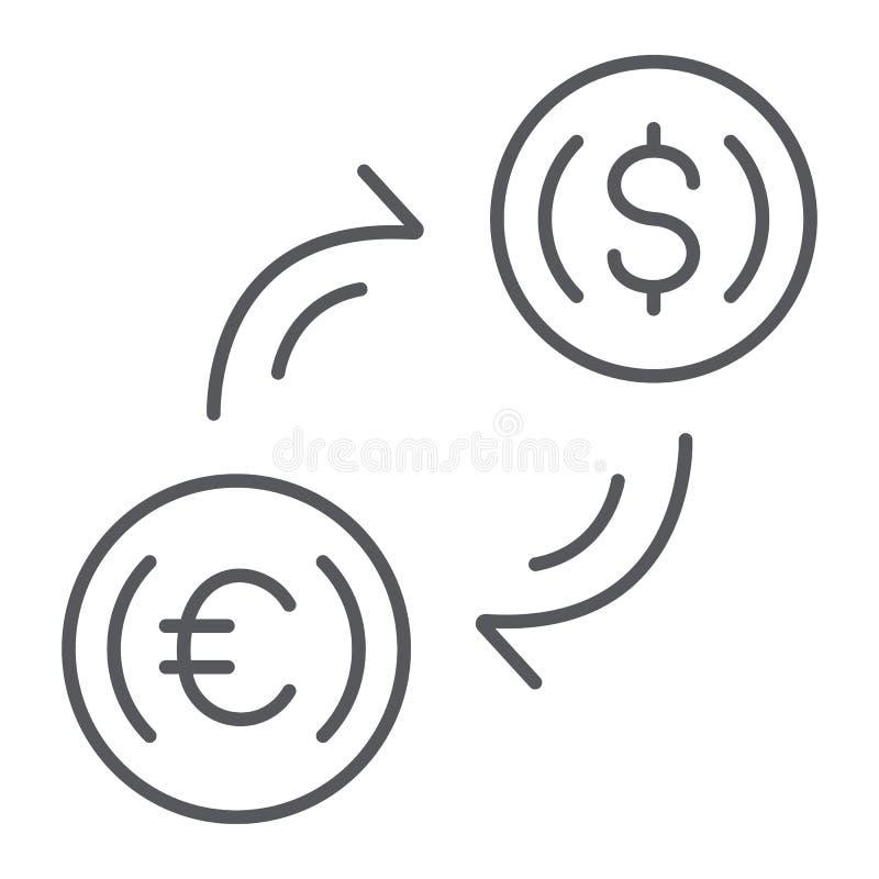 Linha fina ícone da troca de dinheiro, finança e operação bancária, sinal de transferência de moeda, gráficos de vetor, um teste  ilustração do vetor