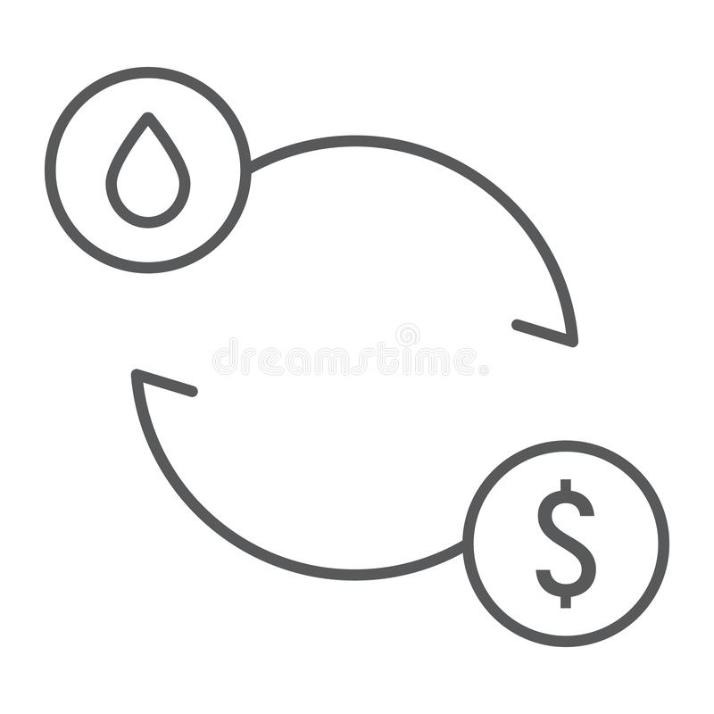Linha fina ícone da troca do óleo, combustível e custo, sinal do preço do petróleo, gráficos de vetor, um teste padrão linear em  ilustração royalty free